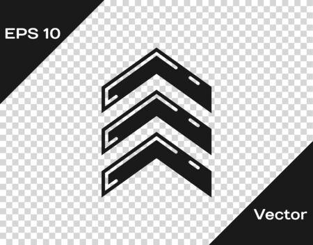 Grey Military rank icon isolated on transparent background. Military badge sign. Vector Illustration Ilustração