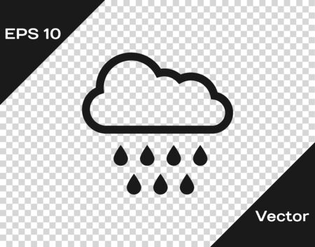Grey Cloud with rain icon isolated on transparent background. Rain cloud precipitation with rain drops. Vector Illustration Иллюстрация