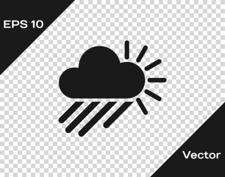 Grey Cloudy with rain and sun icon isolated on transparent background. Rain cloud precipitation with rain drops. Vector Illustration