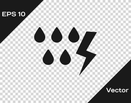 Grey Storm icon isolated on transparent background. Drop and lightning sign. Weather icon of storm. Vector Illustration