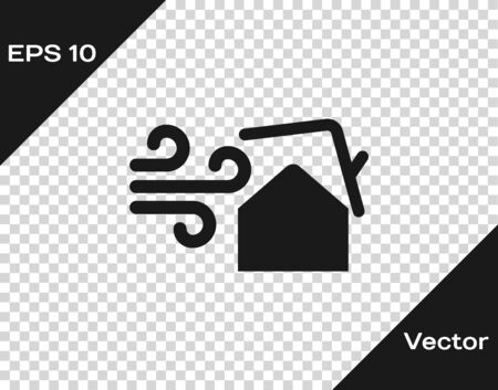 Grey Tornado swirl damages house roof icon isolated on transparent background. Cyclone, whirlwind, storm funnel, hurricane wind icon. Vector Illustration Foto de archivo - 133598727