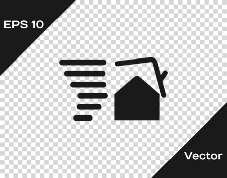 Grey Tornado swirl damages house roof icon isolated on transparent background. Cyclone, whirlwind, storm funnel, hurricane wind icon. Vector Illustration Foto de archivo - 133598728