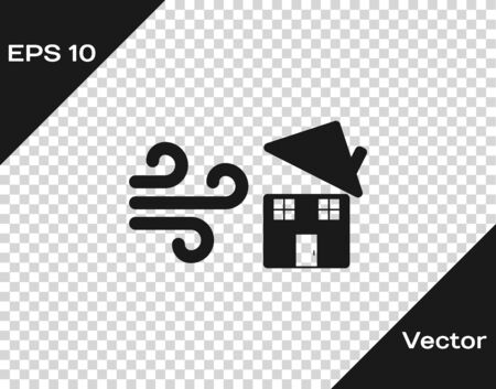 Grey Tornado swirl damages house roof icon isolated on transparent background. Cyclone, whirlwind, storm funnel, hurricane wind icon. Vector Illustration Foto de archivo - 133598729