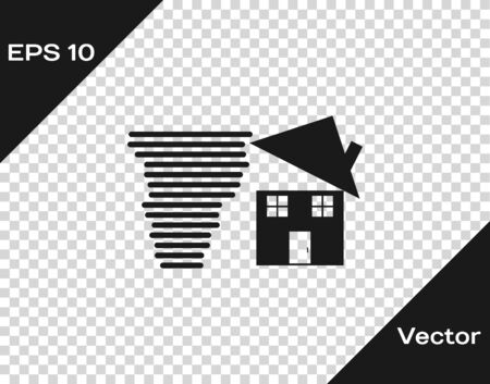 Grey Tornado swirl damages house roof icon isolated on transparent background. Cyclone, whirlwind, storm funnel, hurricane wind icon. Vector Illustration Foto de archivo - 133598730