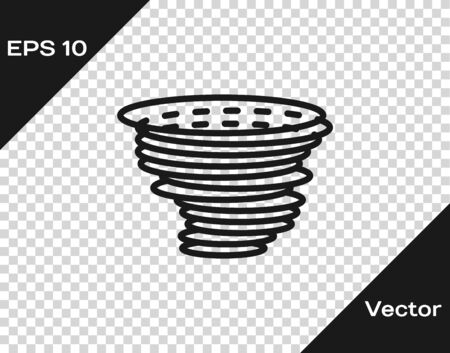Grey Tornado icon isolated on transparent background. Cyclone, whirlwind, storm funnel, hurricane wind or twister weather icon. Vector Illustration Foto de archivo - 133598731