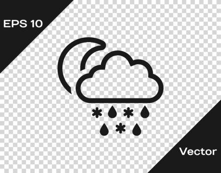 Grey Cloud with snow and rain icon isolated on transparent background. Weather icon. Vector Illustration