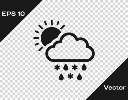 Grey Cloud with snow, rain and sun icon isolated on transparent background. Weather icon. Vector Illustration