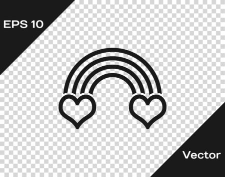 Grey Rainbow with heart icon isolated on transparent background. Vector Illustration