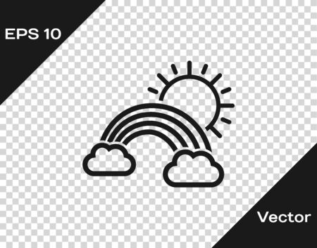 Grey Rainbow with clouds and sun icon isolated on transparent background. Vector Illustration