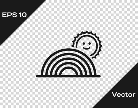 Grey Rainbow with sun icon isolated on transparent background. Vector Illustration Иллюстрация