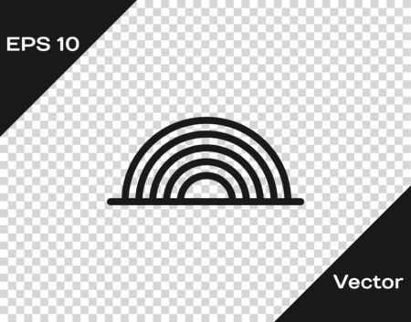 Grey Rainbow with clouds icon isolated on transparent background. Vector Illustration