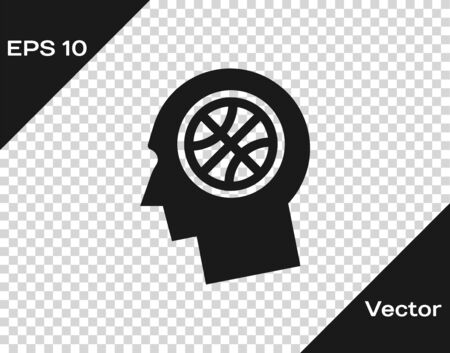 Grey Thoughts on a basketball icon isolated on transparent background. Vector Illustration