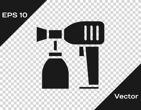 Grey Paint spray gun icon isolated on transparent background. Vector Illustration