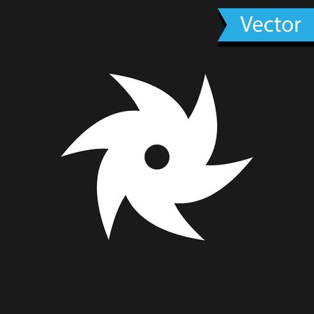 White Tornado icon isolated on black background. Cyclone, whirlwind, storm funnel, hurricane wind or twister weather icon. Vector Illustration Foto de archivo - 133593304