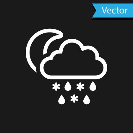 White Cloud with snow and rain icon isolated on black background. Weather icon. Vector Illustration
