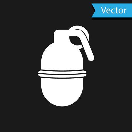 White Hand grenade icon isolated on black background. Bomb explosion. Vector Illustration Ilustração