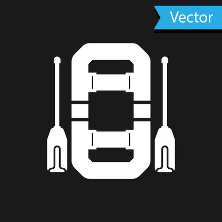White Rafting boat icon isolated on black background. Inflatable boat with oars. Water sports, extreme sports, holiday, vacation, team building. Vector Illustration