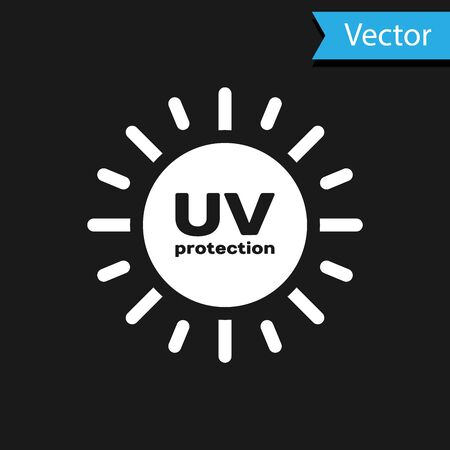 White UV protection icon isolated on black background. Ultra violet rays radiation. SPF sun sign. Vector Illustration Vectores