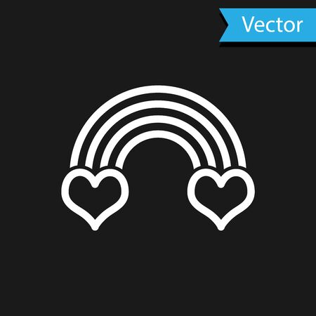 White Rainbow with heart icon isolated on black background. Vector Illustration