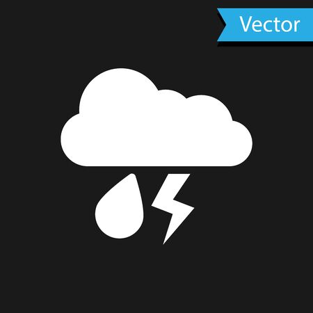 White Cloud with rain and lightning icon isolated on black background. Rain cloud precipitation with rain drops.Weather icon of storm. Vector Illustration Иллюстрация