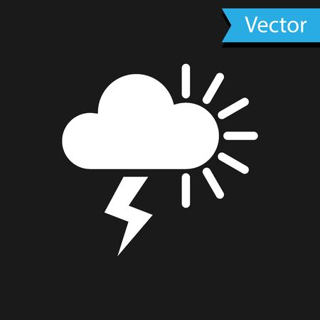 White Storm icon isolated on black background. Cloudy with lightning and sun sign. Weather icon of storm. Vector Illustration Иллюстрация