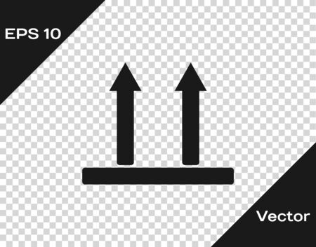 Grey This side up icon isolated on transparent background. Two arrows indicating top side of packaging. Cargo handled so these arrows always point up. Vector Illustration