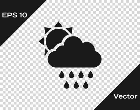 Grey Cloud with rain and sun icon isolated on transparent background. Rain cloud precipitation with rain drops. Vector Illustration Иллюстрация