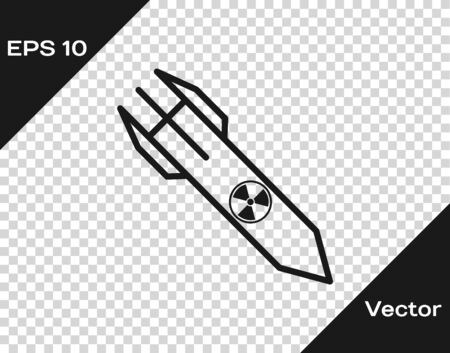 Grey Nuclear rocket icon isolated on transparent background. Rocket bomb flies down. Vector Illustration Illustration