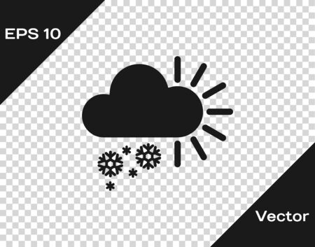 Grey Cloudy with snow icon isolated on transparent background. Cloud with snowflakes. Single weather icon. Snowing sign. Vector Illustration Иллюстрация