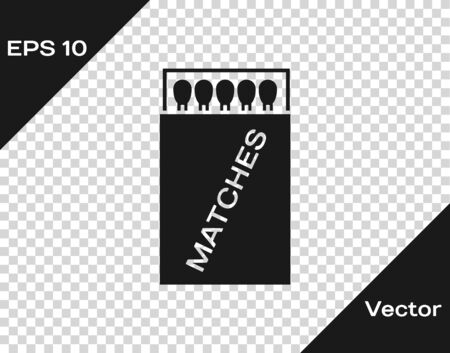 Grey Open matchbox and matches icon isolated on transparent background. Vector Illustration