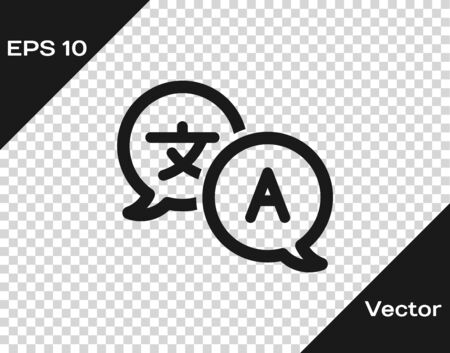 Grey Translator icon isolated on transparent background. Foreign language conversation icons in chat speech bubble. Translating concept. Vector Illustration
