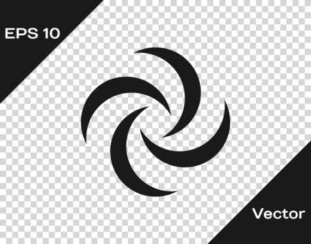 Grey Tornado icon isolated on transparent background. Cyclone, whirlwind, storm funnel, hurricane wind or twister weather icon. Vector Illustration 向量圖像