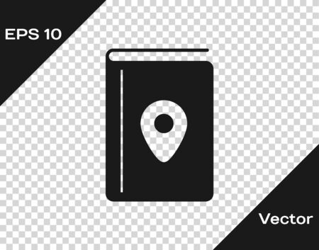 Grey Cover book travel guide icon isolated on transparent background. Vector Illustration