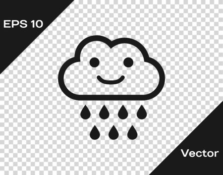 Grey Cloud with rain icon isolated on transparent background. Rain cloud precipitation with rain drops. Vector Illustration Иллюстрация
