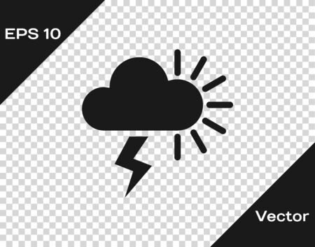 Grey Storm icon isolated on transparent background. Cloudy with lightning and sun sign. Weather icon of storm. Vector Illustration Иллюстрация
