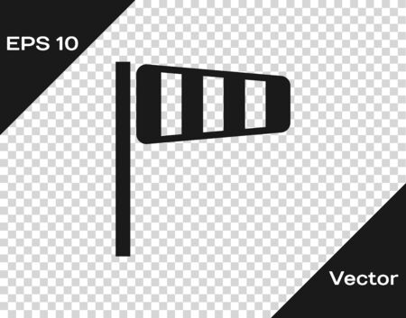 Grey Cone meteorology windsock wind vane icon isolated on transparent background. Windsock indicate the direction and strength of the wind. Vector Illustration Иллюстрация