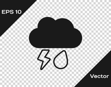 Grey Cloud with rain and lightning icon isolated on transparent background. Rain cloud precipitation with rain drops.Weather icon of storm. Vector Illustration