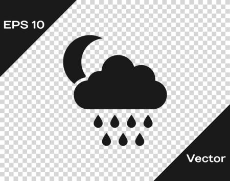 Grey Cloud with rain and moon icon isolated on transparent background. Rain cloud precipitation with rain drops. Vector Illustration