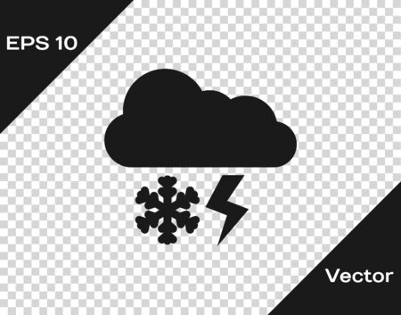 Grey Cloud with snow and lightning icon isolated on transparent background. Cloud with snowflakes. Single weather icon. Snowing sign. Vector Illustration Иллюстрация