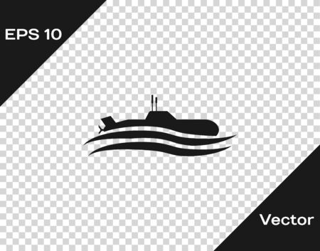 Grey Submarine icon isolated on transparent background. Military ship. Vector Illustration
