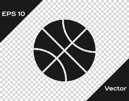Grey Basketball ball icon isolated on transparent background. Sport symbol. Vector Illustration