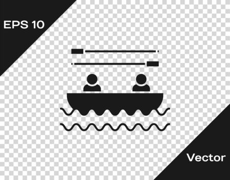 Grey Boat with oars and people icon isolated on transparent background. Water sports, extreme sports, holiday, vacation, team building. Vector Illustration
