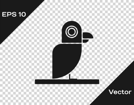 Grey Pirate parrot icon isolated on transparent background. Vector Illustration