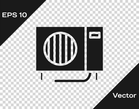 Grey Air conditioner icon isolated on transparent background. Split system air conditioning. Cool and cold climate control system. Vector Illustration