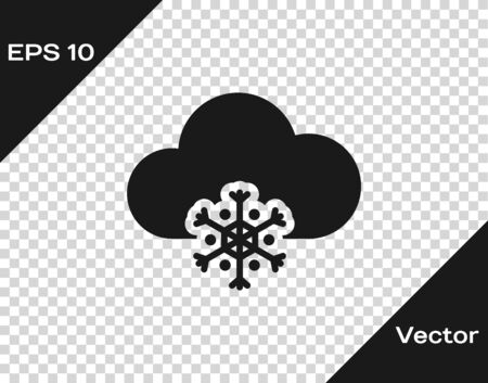 Grey Cloud with snow icon isolated on transparent background. Cloud with snowflakes. Single weather icon. Snowing sign. Vector Illustration