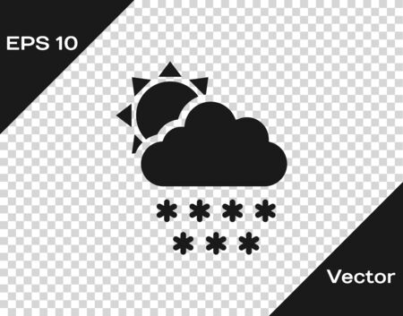 Grey Cloud with snow and sun icon isolated on transparent background. Cloud with snowflakes. Single weather icon. Snowing sign. Vector Illustration Иллюстрация