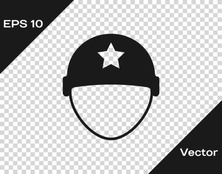 Grey Military helmet icon isolated on transparent background. Army hat symbol of defense and protect. Protective hat. Vector Illustration Ilustração