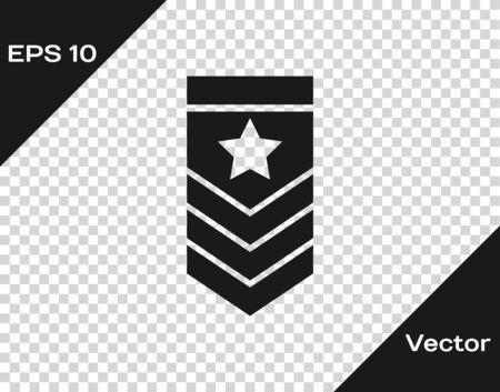 Graues Chevron-Symbol auf transparentem Hintergrund isoliert. Militärisches Abzeichen-Zeichen. Vektorillustration