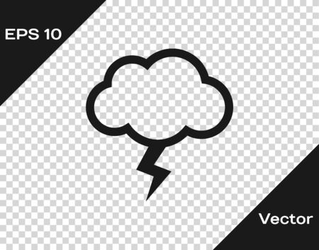 Grey Storm icon isolated on transparent background. Cloud and lightning sign. Weather icon of storm. Vector Illustration