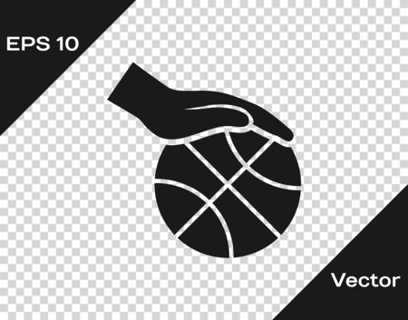 Grey Hand with basketball ball icon isolated on transparent background. Sport symbol. Vector Illustration Иллюстрация